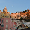 Moonrise over Corricella on the island of Procida, Italy