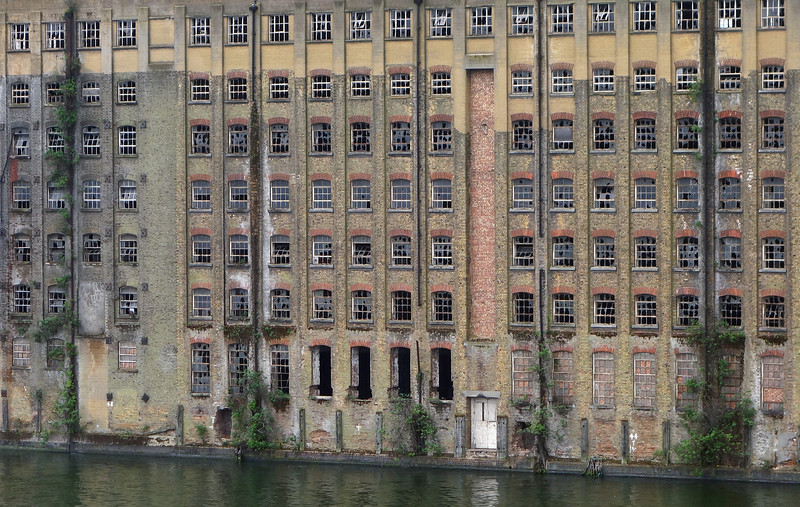 Large derelict warehouse in the Docklands, east London