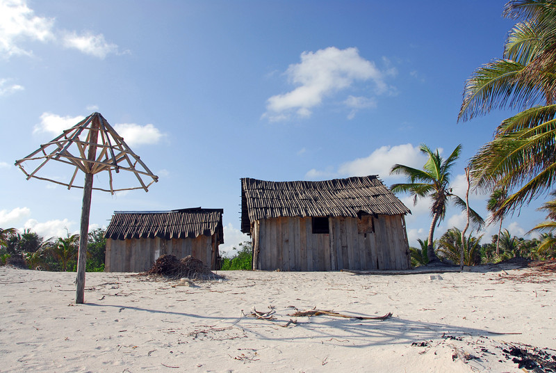 Abandoned beach huts in Yucatan, Mexico