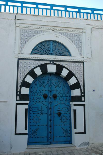 Villa entrance in Sidi Bou Said, Tunisia