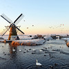 Winter at windmill 'Hoop Doet Leven' near the village of Voorhout, The Netherlands