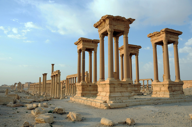 Early morning light over the Great Colonnade at Palmyra, Syria