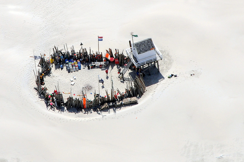 Aerial view of beach refuge on the island of Vlieland, The Netherlands