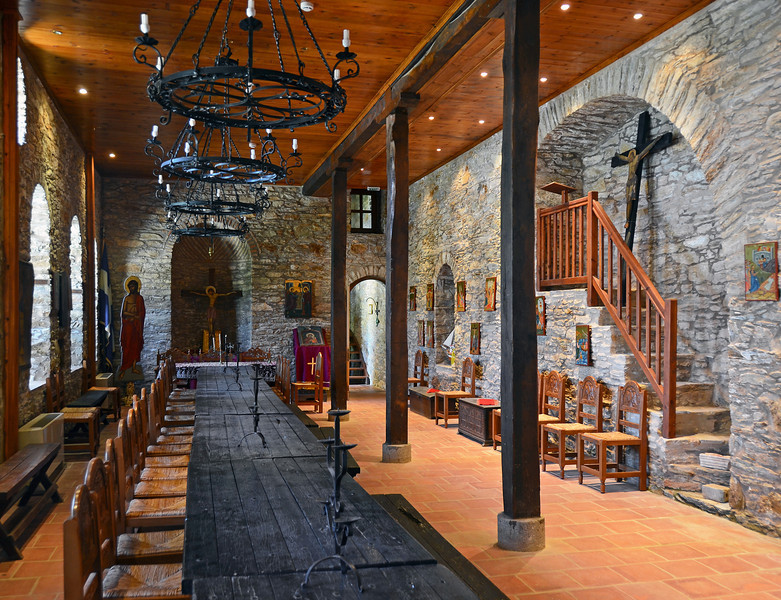 Refectory in the 18th century monastery of Evangelistrias on Skiathos island, Greece