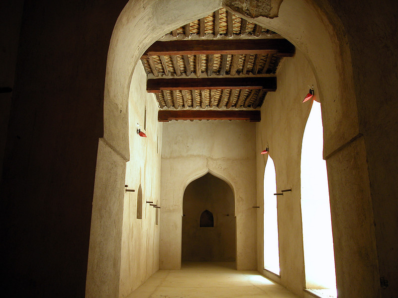 Passage in the old fort at Birkat Al Mauz, Oman