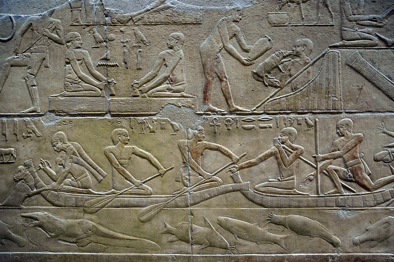 Wall relief in tomb at Saqqara, Egypt