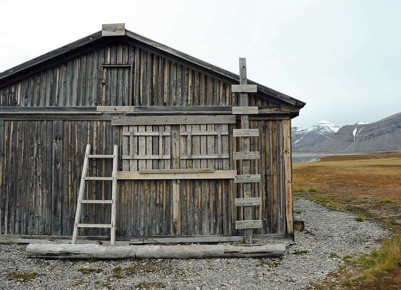 Polar bear proof refuge (Skottehytta) in the inner Billefjorden, Svalbard
