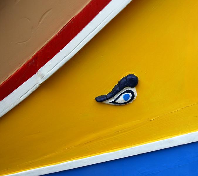 Protective eye on 'luzzu' (local fishing boat) in Marsaxlokk, Malta