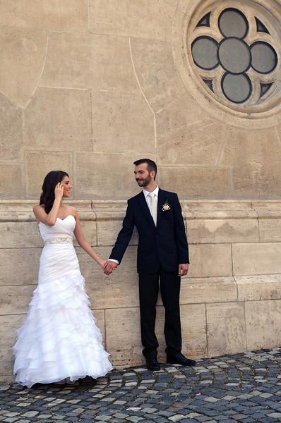 Posing before wedding at the Matthias church in Budapest, Hungary