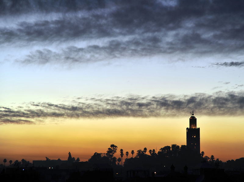 Dusk over the Koutoubia mosque in Marrakesh, Morocco