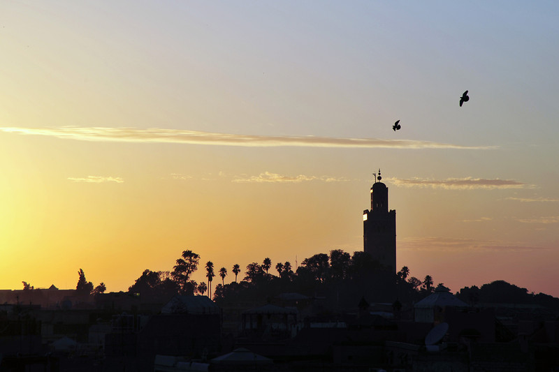 Maghrib prayer time at the Koutoubia mosque in Marrakech, Morocco