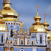 Golden roofs on Orthodox church in Kiev, Ukraine