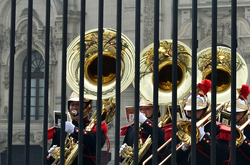 Music behind bars at the presidential palace in Lima, Peru