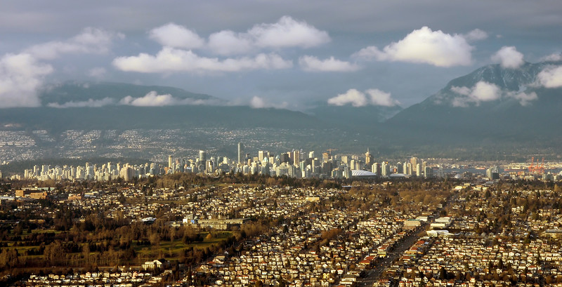 Low level aerial picture of Vancouver, western Canada