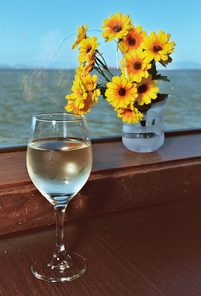 Wine and Flowers, still life.
