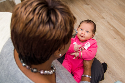 Baby gazing at grandma