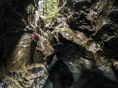 Kevin O'Neale and Scott Sutherland on the Gorner Gorge via feratta, Zermatt