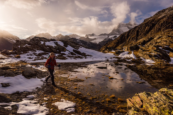 Hiking in the Piz Bernina range, Italy