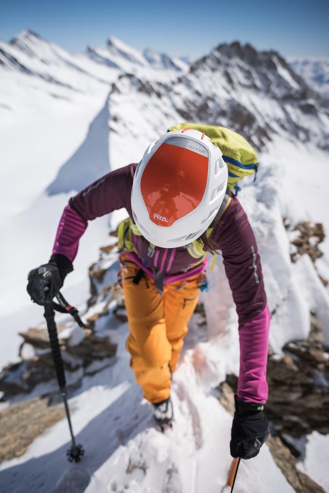 Liv Sansoz on the SE ridge f the Monch, Oberland, Switzerland