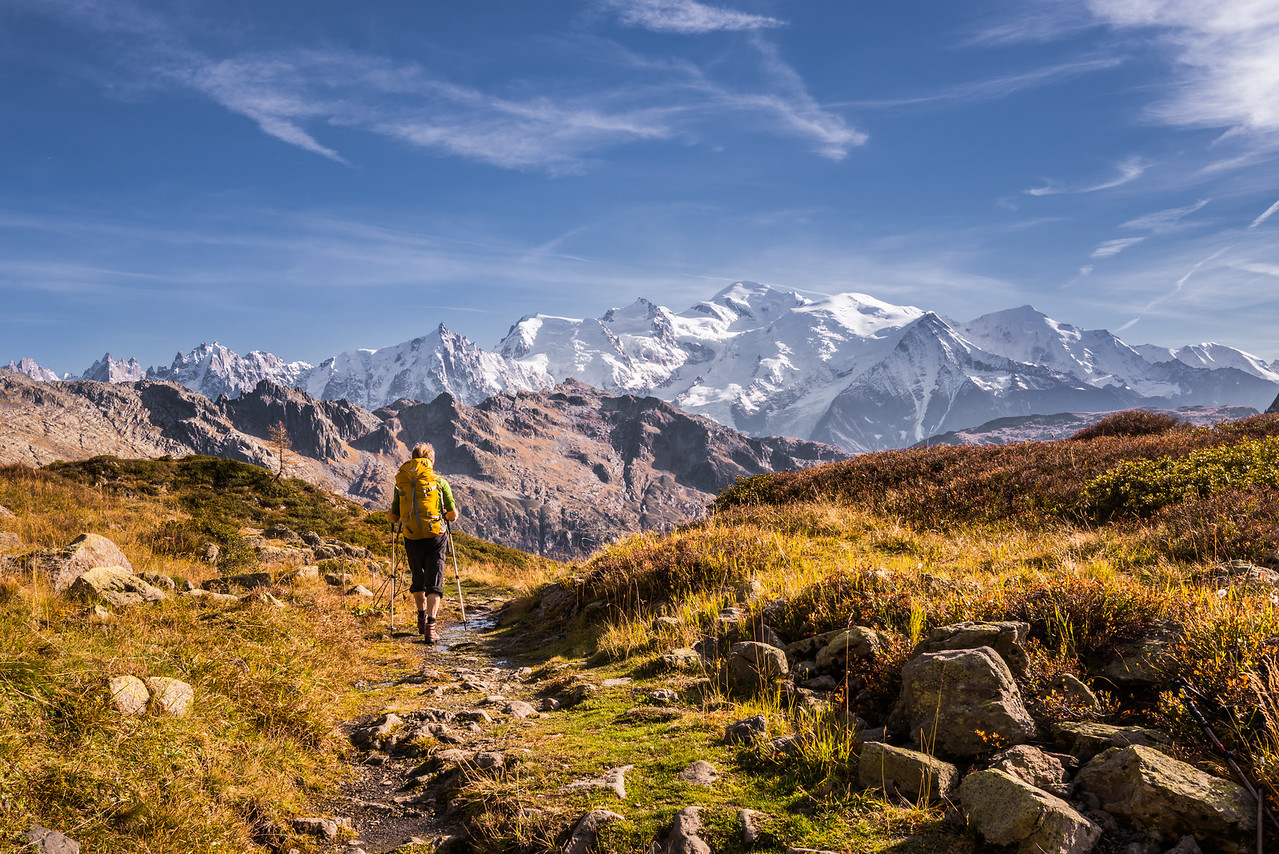 Hiking in the Massif des Fiz, Mont Blanc behind, France