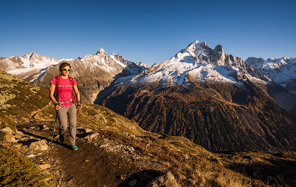 Valentine Fabre hiking to Lac Blanc refuge, Aiguilles Rouges, Chamonix