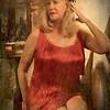 DeeDee in red 20s dress in Speakeasy