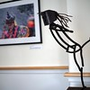 """BEN GARVER – THE BERKSHIRE EAGLE<br /> """"Skater"""" is a sculpture in steel by Peter S. Barrettn At Kimbal Farms Life Care in Lenox, part of an exhibition with photographers Dan Mead and Sally Eagle."""