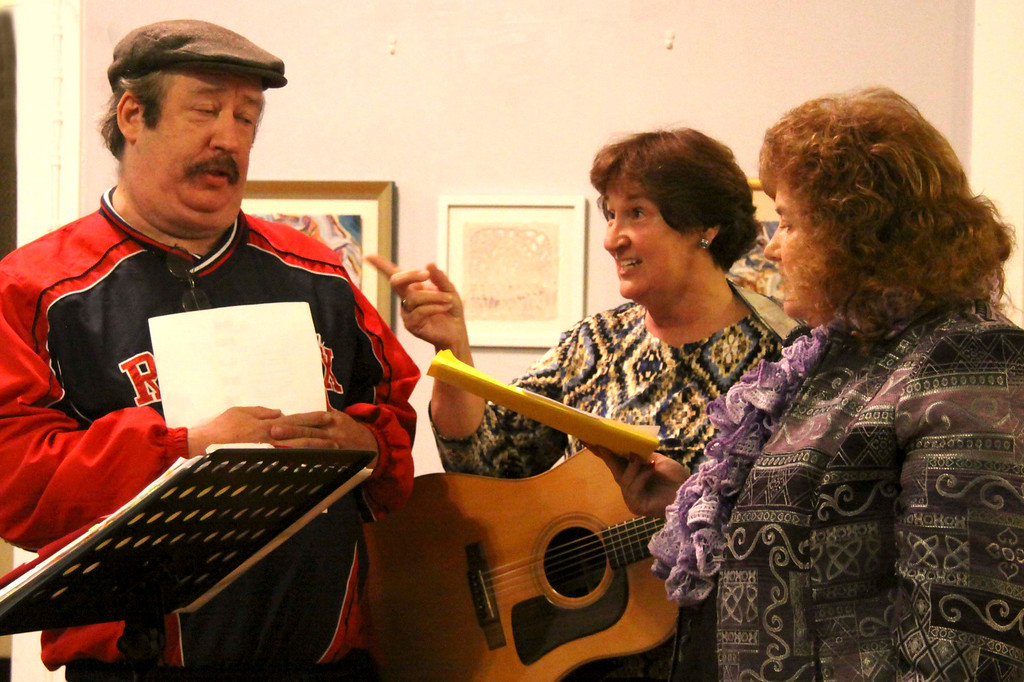 . Singers Kevin Paul Wixsom of pittsfield and Janine Sniezek of Dalton rehearse on Tuesday evening with with the Town Players Cabaret. The Town Players is lead by Director Bev Krol who is in the middle. October 29th 2013 Holly Pelczynski/Berkshire Eagle Staff