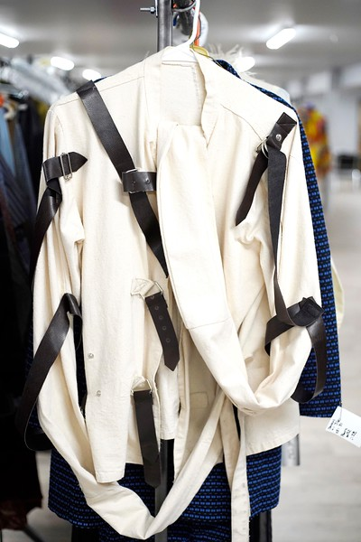 BEN GARVER — THE BERKSHIRE EAGLE<br /> A straight jacket is among the costumes in storage at Barrington Stage Company.