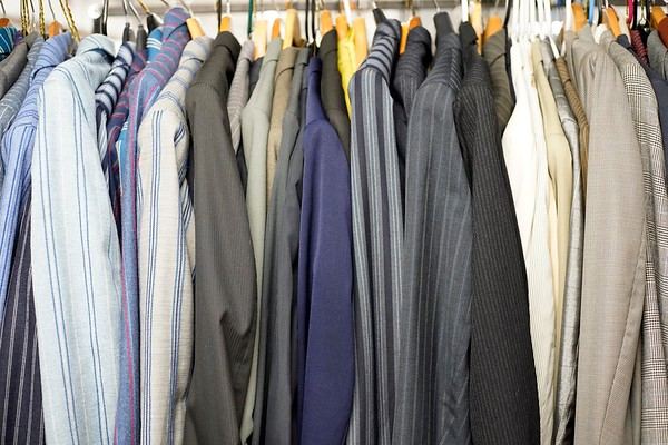 BEN GARVER — THE BERKSHIRE EAGLE<br /> A row of men's suits are among the costumes in storage at Barrington Stage Company.