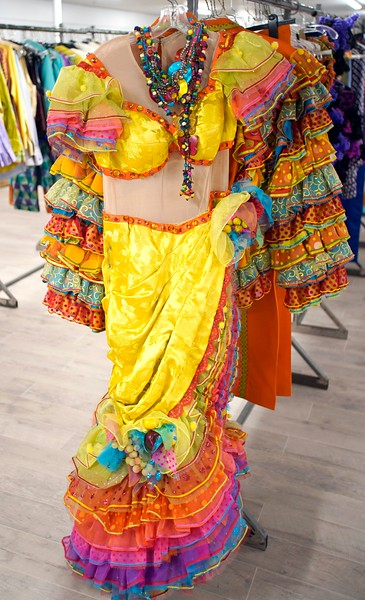 "BEN GARVER — THE BERKSHIRE EAGLE<br /> A dress from  the Broadway production of ""On the Town""  is  among the costumes in storage at Barrington Stage Company."