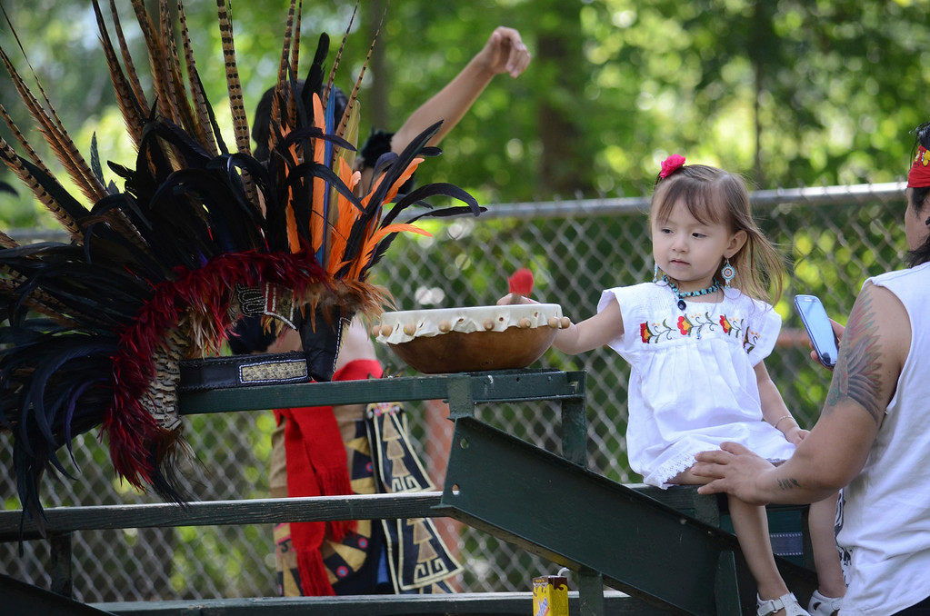 . Angie Najera, age 2,  plays with a drum at the Rock, Rattle and Roll Pow Wow in Adams, Mass. before her family prepares a Toltec dance, Sunday Aug. 10, 2014. (AP Photo / The Berkshire Eagle, Ben Garver)