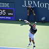 BENJAMIN CASSIDY — THE BERKSHIRE EAGLE<br /> Stan Wawrinka serves against Ugo Humbert at the Grandstand in Round 2 of this year's U.S. Open.