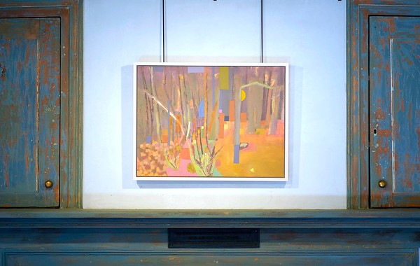 BEN GARVER — THE BERKSHIRE EAGLE <br /> Cynthia Wick has a showing of her paintings called The Shape of Color on display at The Berkshire Botanical Garden in Stockbridge. Wednesday, October 23, 2019. Wick works in oils, acrylic and painted paper collage.