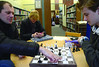 Sergiy Dudko and his son Artem, 14, play a game of chess at the Williamstown Public Library during a game day, and arts and crafts activity on Friday, Dec. 27, 2013. (Gillian Jones/North Adams Transcript)