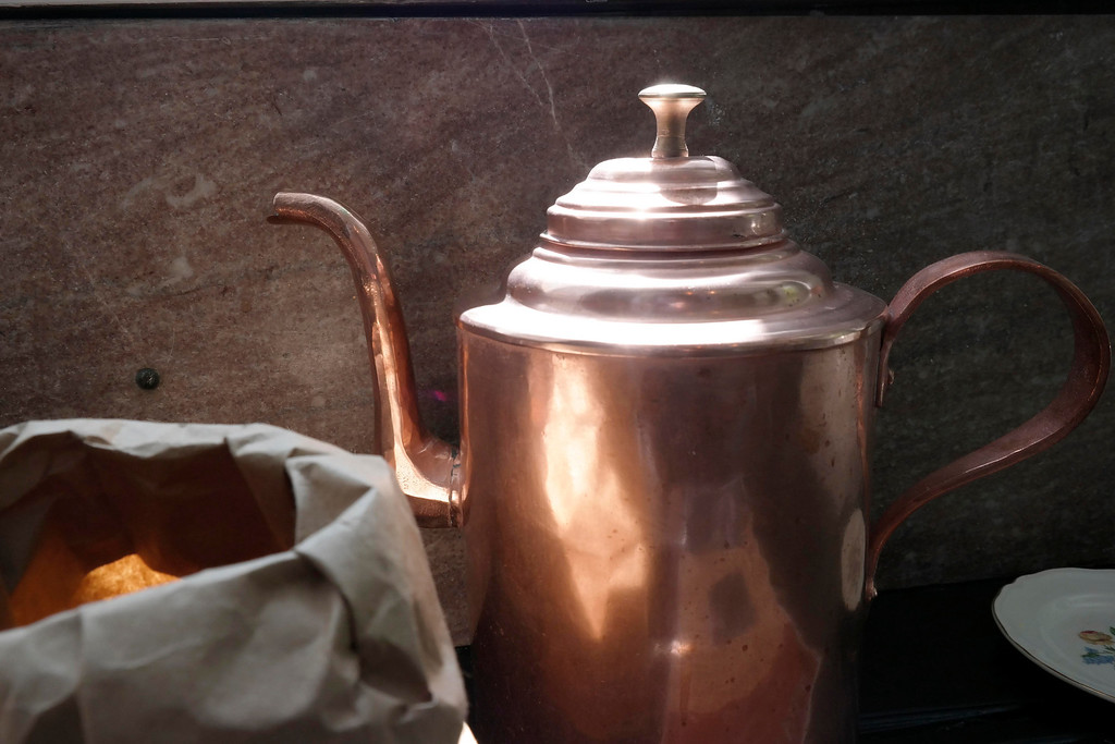 . A copper coffee pot gleems in the sunlight in the Kitchen at the Mount. Tuesday May 20, 2014. Ben garver / Berkshire Eagle Staff / photos.berkshireeagle.com