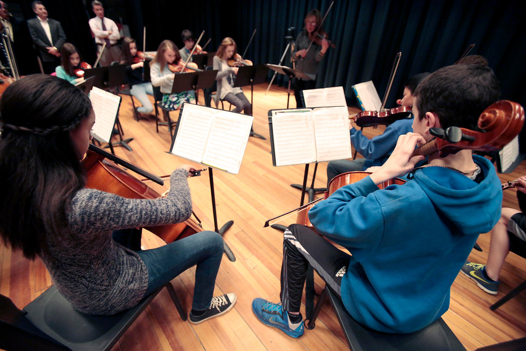 . Herberg Middle School student musicians play before six of them receive musical instruments from the Domenic A. Izzi Jr. Foundation for Young Aspiring Musicians. Thursday, April 3, 2014. Stephanie Zollshan / Berkshire Eagle Staff / photos.berkshireeagle.com