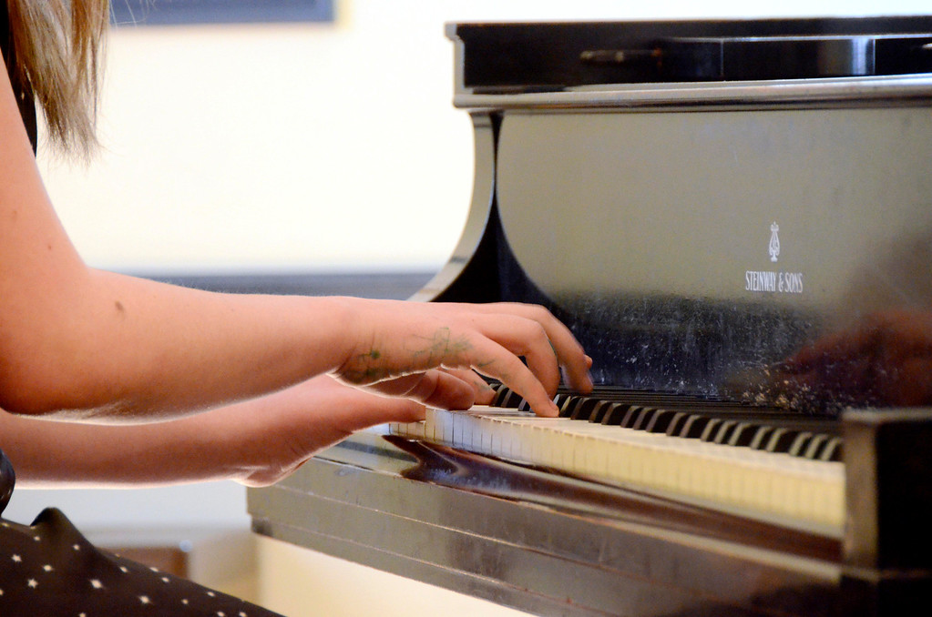 . The Berkshire Music School in Pittsfield held a music marathon weekend on Saturday and Sunday. The hands of Gabby Hinkley play the piano on Sunday, April, 6, 2014. The annual event raises money for the school\'s educational program. Gillian Jones / Berkshire Eagle Staff / photos.berkshireeagle.com