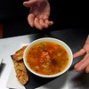 BEN GARVER — THE BERKSHIRE EAGLE<br /> Danielle Dragonetti has opened the Post Eatery and Bar on Railroad Street in Lee, featuring sustainably and humanely sourced comfort food. The soup is a minestrone, The salad based on quinoa.