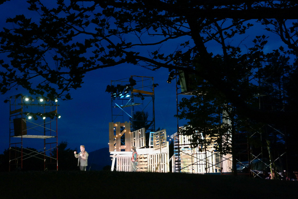 . Tho Outdoor Stage constructed for A Midsummer Night\'s Dream at Springside Park has a great view of Pitttsfield and the surrounding mountains. Monday July 14, 2014. Ben Garver / Berkshire Eagle Staff / photos.berkshireeagle.com