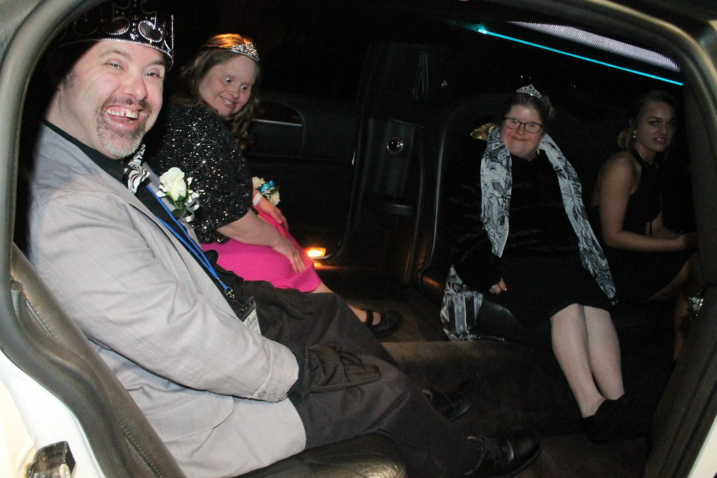 . Prom goers at the Night to Shine Prom  held by Painesville Baptist Church, Feb. 9, were treated to a ride in a stretch limousine. Kristi Garabrandt - The News-Herald
