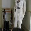 Riding habit, men's white heavy duty cotton twill jacket and breeches., c 1935. {Photo by Kristi  Garabrandt-The News-Herald}