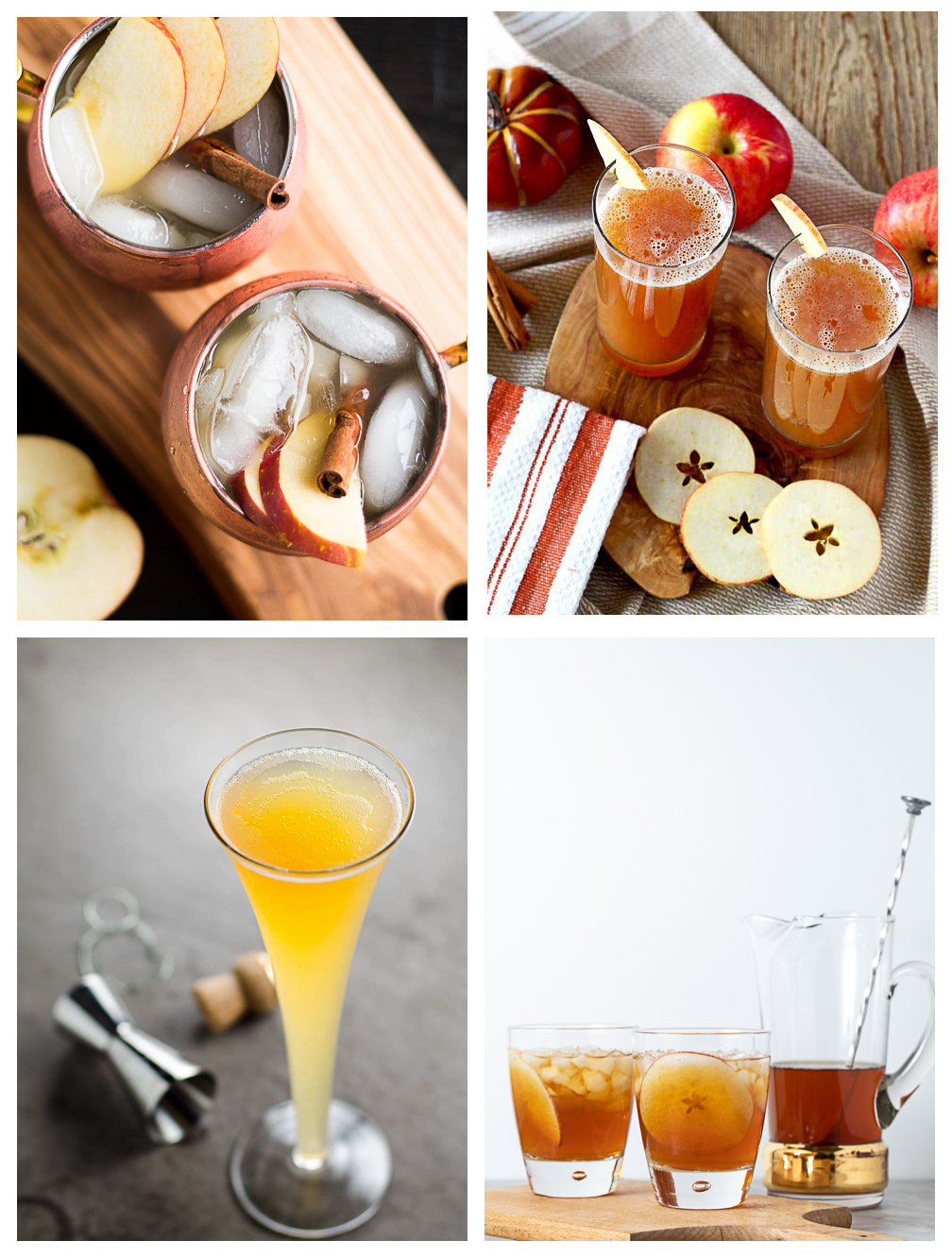 Collage showing 4 apple cocktails that are fizzy!
