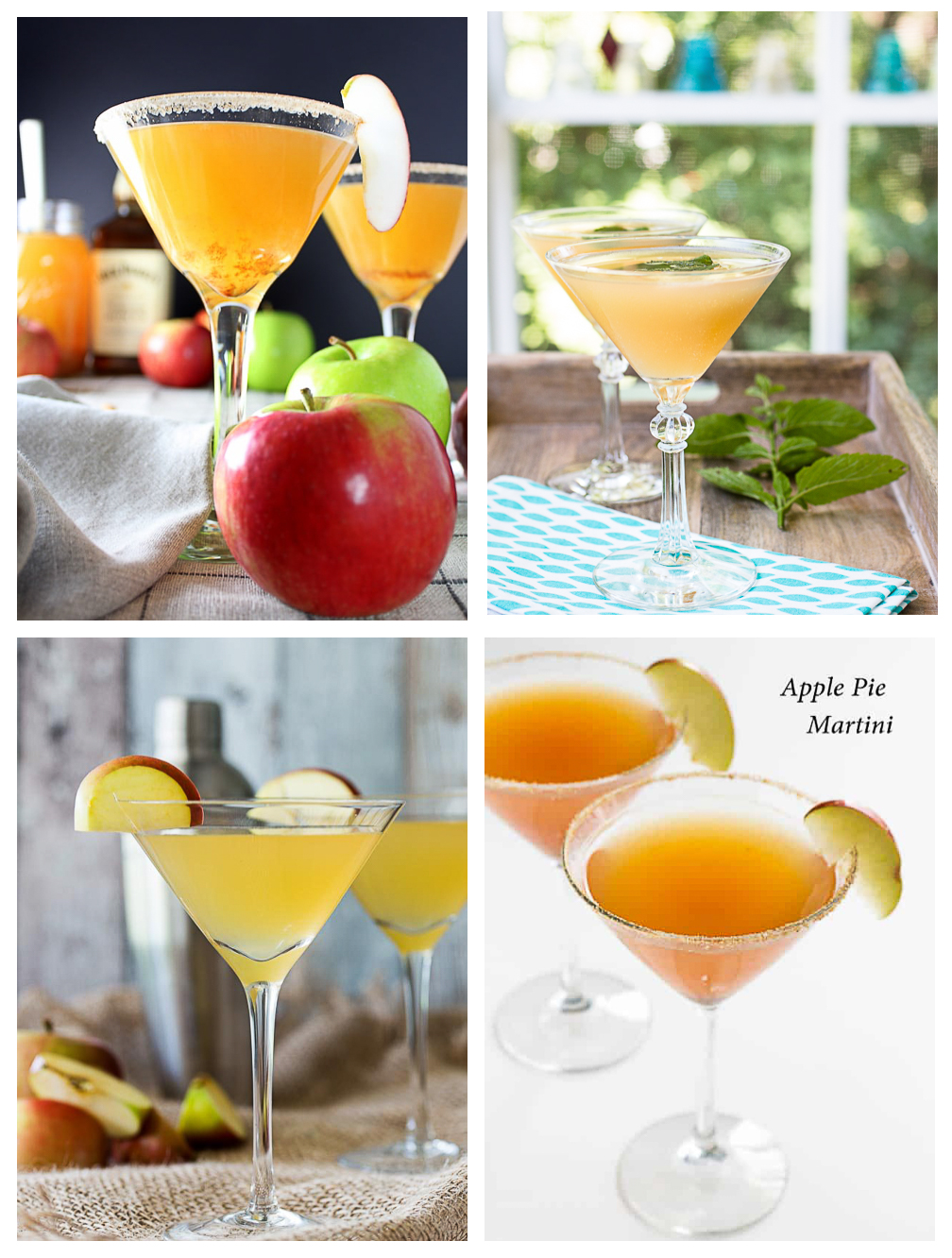 Collage of 4 apple martinins.