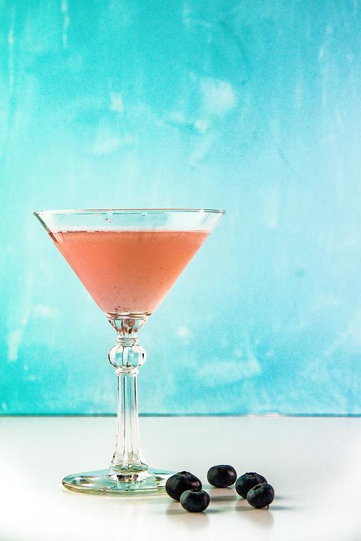 Blueberry Elderflower Martini - gin, blueberries, elderflower liqueur, lime juice