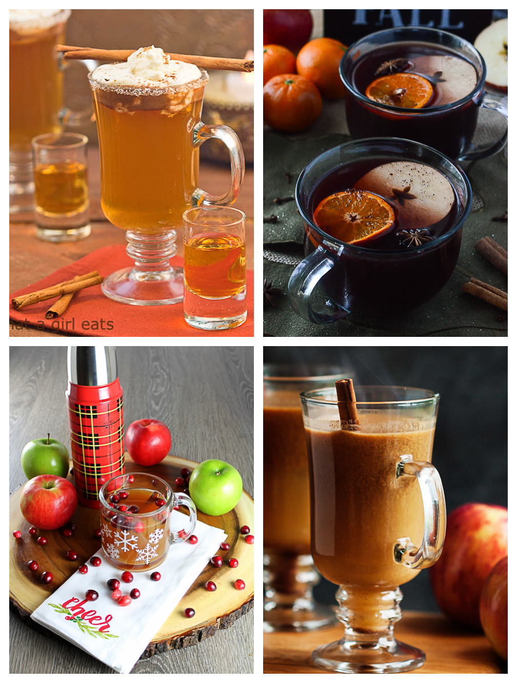 Collage of four warm apple cocktails.