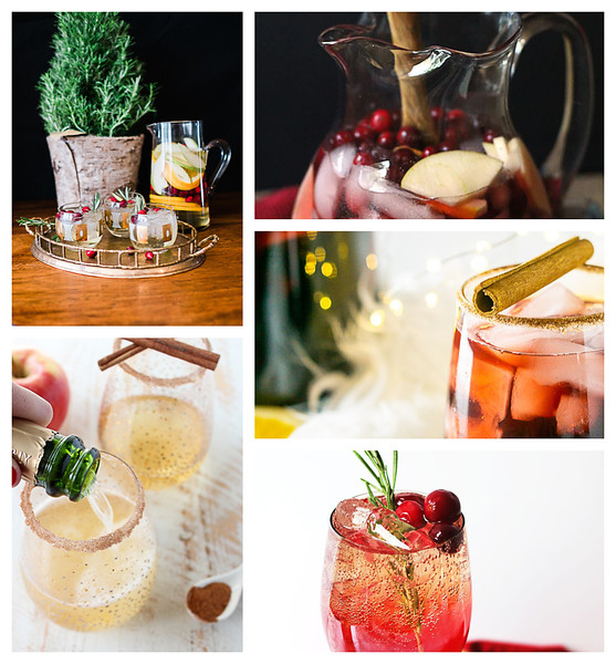 Collage of Christmas Cocktails using wine
