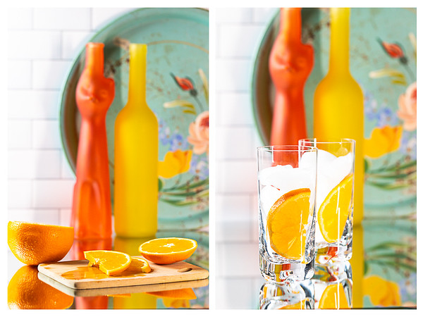 First two steps for making an aperol spritz, making the orange garnish and filling glasses with ice.
