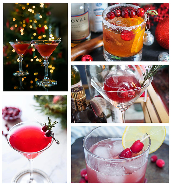 Collage of Cranberry Christmas Cocktails