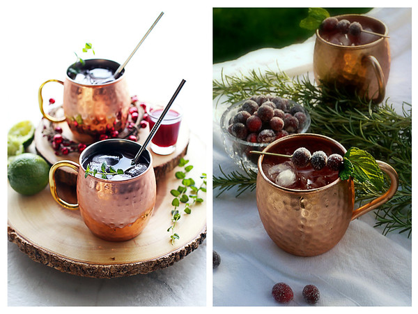 Two photos of cocktails in Moscow Mule Cups